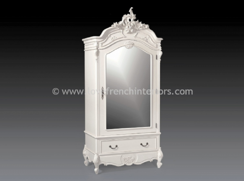 Louis Mirrored Single Door Armoire